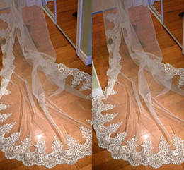 Wholesale 2015 Sparkly Lace Edge Bridal Veils With Beads One Layer Cathedral Train Tulle Wedding Veil Bridal Accessories