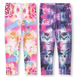 Wholesale 2 Colors Purple Pink Children s Cut Cats Flowers Printed Pants Baby Girls Cotton Long Casual Trousers Kids Clothing