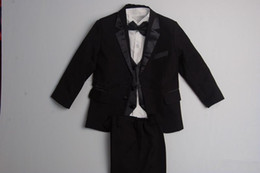 Wholesale Two Buttons High quality Kid Complete Designer Black Notch Lapel Boy Wedding Suit Boys Attire Custom made Jacket Pants Tie Vest