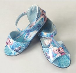 Wholesale 2014 Hot Sales Frozen Elsa Anna Princess Girl pu Sandals Shoes Girl Frozen Sandals Size
