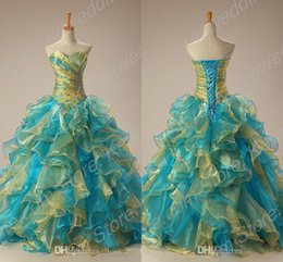 Wholesale 2015 New Junior Quinceanera Dresses Mixed Color Sweetheart Ball Gowns Beaded Ruched Organza Prom Evening Dresses In Stock Us Size Cheap WZ