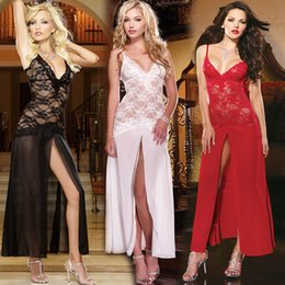 Wholesale 2015 Sexy New women lace Club Lingerie set Women A line sleepwear dresses See Thru Nightdress t back White Black hot Red Sex Costumes M L XL
