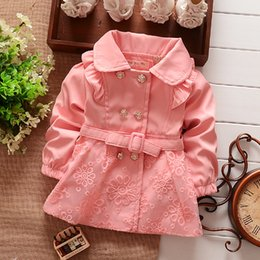 Wholesale New Fashion Style Double Breasted Girls Korean Style Cotton Trench Coat Spring Childrens Fashion Coat Girls Lace Coats Baby Jackets