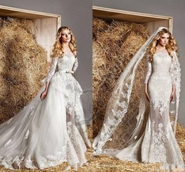 Wholesale Zuhair Murad Bridal Gowns Removable Train A line Tulle Luxury Sheer Lace Long Sleeve Wedding Dress With Cover Back