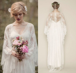 Wholesale Over Skirts Boho Full Lace Wedding Dresses Illusion Backless Maternity Floor Length V Neck Long Sleeves Bohemian Bridal Gown Plus Size