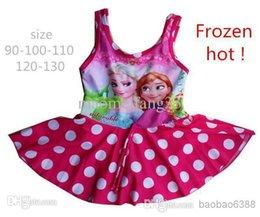 Wholesale Frozen Dress Ella Elsa Carton Summer Girls Kids Swimwear cheap Princess bathing suits kids one piece swim suits MOQ Beach Supplies