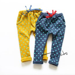 Wholesale Kids Children Winter Thickening Casual Harem Pants Boys And Girls Full Printing Stars Double Warm Velvet Trousers