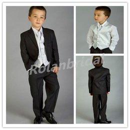 Wholesale Complete Designer Boy Wedding Suit Boys Attire Custom jacket vest shirt bow tie pants