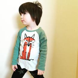 Wholesale INS hot cute boys t shirts Fox kids cotton T Shirt kroean fashion cartoon childrens long sleeve tshirt tee Outdoor Fun Sports Kids tops