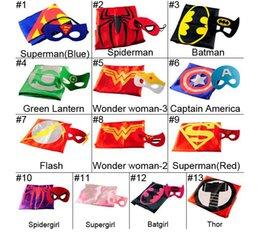 Wholesale Children Superhero Cape Mask L70 W70CM Double Side batman superman cape mask Reversible Superhero Cape supergirl cape mask set DHL free