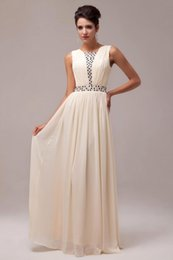Wholesale Grace Karin Noble Apricot Pleated Beads Long Chiffon Bridesmaid Dress Under Cheap Gown Formal evening Party Prom Ball Gown dress CL6019