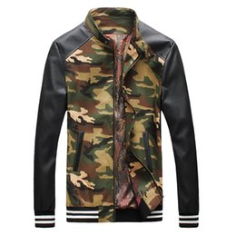 Wholesale 2015 hot sale stand collar fashion military style camouflage patchwork PU sleeves casual autumn dress men s jackets army M XL