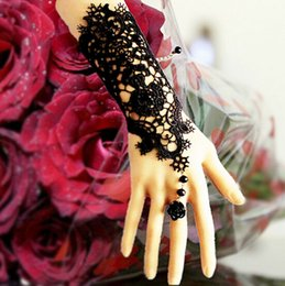 Wholesale Cheap Wedding Bridal Wedding Bridal Back of the hand chain bracelet with Ring women lace gloves wedding accessories evening dresses
