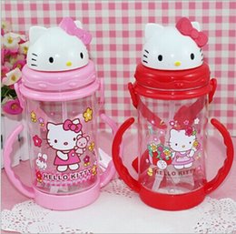 Wholesale Cute Hello Kitty Baby Nipples Plastic Straw Cup Juice Drinks Bottle Double Handles Water Bottles With Hanging Lace