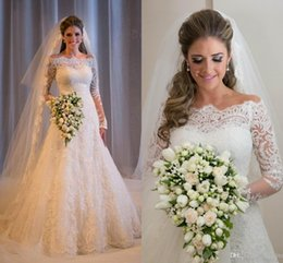 Wholesale 2016 Cheap Spring Full Lace Wedding Dresses Vestidos De Noiva Vintage Long Sleeves Ball Gown Bridal Wear Beach Plus Size Robe mz