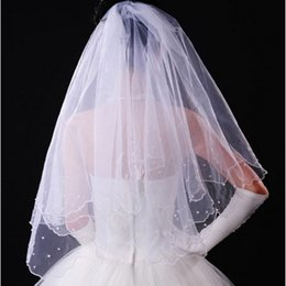 Wholesale Vintage White Ivory Tulle Wedding Bridal Veil One Layer Elbow Length Two Layer Beaded Lace Appliques GA0046