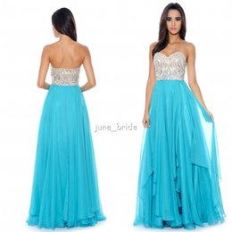 Wholesale Elegant Fitted A Line Aqua Chiffon Prom Dresses Crystal Sweetheart Sleeveless Custom Made Formal Gowns Dresses Pageant Dress