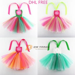Wholesale DHL hot summer girls rainbow colorful tutu dresses children baby colorful chest wrap tutu skirt girl dress with flower J011201