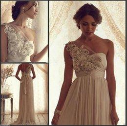 Wholesale Vintage Sheath Wedding Dresses Sheer Anna Campbell Bridal Gowns One Shoulder Backless Pearls Luxury D Floral Appliques Vestidos De Novia
