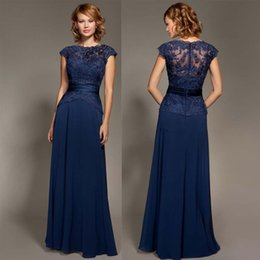Wholesale Elegant See Through Evening Dressess Lace Cap Sleeve Peplum Sash Floor Length Lace Prom Dresses Bateau Neck A Line Formal Mother Dress Cheap