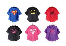 Wholesale 20PCS Super hero raincoat superman batman spiderman superhero kids waterproof Rain Coat children Raincoat Rainwear colors