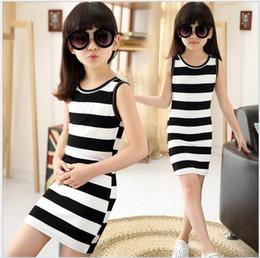 Wholesale Big Girls Black White Stripe Dress Retail Summer Hot Sale Children Sleeveless Vest Dress Childrens Clothes Kids Dress Korean Girl Dress