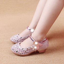 Wholesale Lovely Princess Shiny Beaded Buckle Strap Girl Kid Shoes Summer Children Day Gifts Flower Girl Sandals