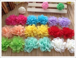 Wholesale 200pcs shabby chiffon flowers Kids Head Accessories baby girl flower head flower hair flower without clips set flowers