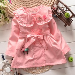 Wholesale 100 cotton New Fashion Style Double Breasted Girls Korean Style Cotton Trench Coat Spring Childrens Fashion Coats