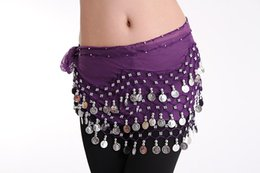 Wholesale 7 Colors Belly Dance Waist Chain Rows Coins Two Rows Four Beads Stage Wear Indian Dance Hip Skirt Scarf Wrap Belt A0335