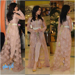 Wholesale Kim Kardashian Fairy Tale Formal Dresses Evening V Neck Illusion Long Sleeves Lace Sash Hi Lo Formal Prom Party Gowns