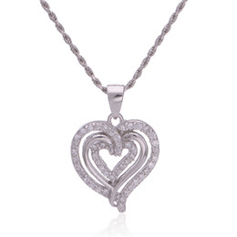Love Heart Necklace Pendant 925 silver crystal pendants fashion jewelry as gift for mom or friends family Free Shipping No.60 FPETV121