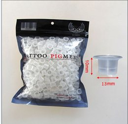 Wholesale 500pcs mm Medium Size Plastic Disposable Tattoo Ink Holder Cups Pigment Supplies Permanent Makeup