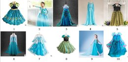 Wholesale 2015 Girls Frozen Dresses Girls Elsa New Cartoon Dresses Anna dress Cinderella movie cosplay costumes baby girl priness dresses