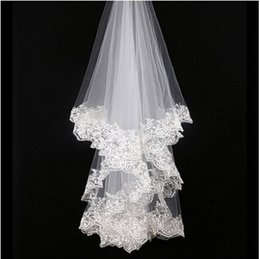 Wholesale Simple High Quality Wedding Veils Bridal Accessory New Short Lace Appliqued One Layer Cheap Tulle Bridal Veils