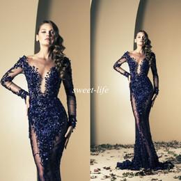 Зияд Nakad 2016 Знаменитости платья Русалка Royal Blue Bling Sequins See Through С длинным рукавом поезд стреловидности Длинные вечерние платья Пром платья