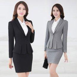Wholesale Office Style Blazer Pants Black Gray Women Business Suits TZ344