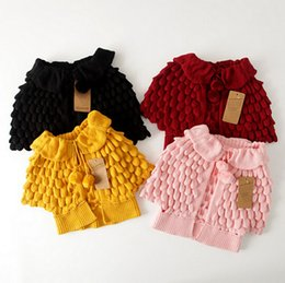 Wholesale Autumn Winter Wear Kids Sweater Coat Cartoon Pineapple Cardigan Thicken Children Knitted Shawl Cape Outwear Y Toddler Baby Girls Clothes