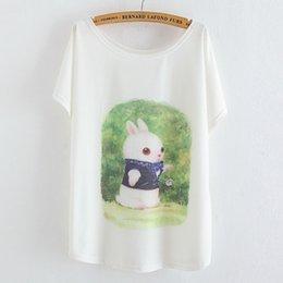 Wholesale 2015 Summer Top Tees Printing Cute Rabbit Lady s O neck bat Loose Sleeve T shirt For Women Casual T shirt Tees