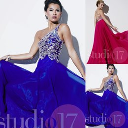 Wholesale Royal Blue vestido de formatura Online Clothing Store One Shoulder Crystal Prom Dress Floor Length Long