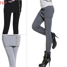 Wholesale Top Leggings Caliente Mujeres Falso Dos Piezas Legging Estiramiento Con Minifalda Zipper Leggins Equipado Slim Pantalones Leggings Casual Negro Gris SV008451