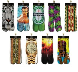 Wholesale Cotton Mens D Printed Socks Printing ODD Socks Three dimensional tie dye socks Bottom hip hop socks Sport Socks Styles