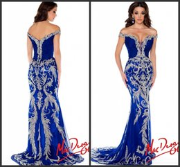 Wholesale 2014 Luxurious Pageant Dresses Sexy Off Shoulder Beads Crystals Satin Phoenix Vintage Royal Blue Formal Evening Prom Gowns yn