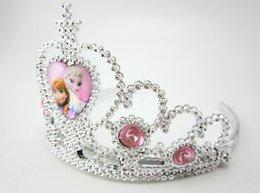Wholesale robe de tiare couronne congelé Elsa Anna couronnes princesse cœur diamant diadème bébés filles hairban partie des accessoires de cheveux de concours