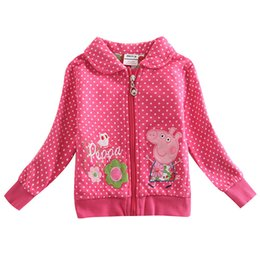 Wholesale Children Outwear Cartoon Jackets Girls Jackets Cute Pig Embroidery Kids Winter Clothing Fuchsia Floral Cotton Coat F4298
