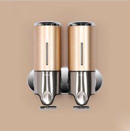 stainless steel double soap dispenser liquid sanitizer box bathroom shower shampoo dispenser mr25