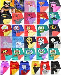 Wholesale Superhero cape CAPE MASK cm back Super Hero Costume for Children Halloween Party Costumes for Kids Children s Costume NEW HERO ARRIVE