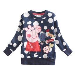 Wholesale Girls T Shirt Nova Kids Girl Cute Girls Top Embroidery Cartoon Children T Shirt Polka Dot Tees Cotton Girls Clothing F4290
