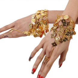 Wholesale 1 PC Belly Dance Bracelet Gold Cions Finger Ring Tribal Costume Jewelry ring body jewelry cherry