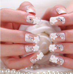 Wholesale D Flowers French Nail Tips false nails glue on fingernails fashion party club Beauty Fake Nail Art tips Stickers tools